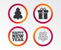 Happy new year sign. Christmas tree and gift box. Happy new year icon. Christmas tree and gift box signs. Fireworks explosive symbol. Infographic design buttons Stock Image