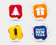 Happy new year sign. Christmas tree and gift box. Happy new year icon. Christmas tree and gift box signs. Fireworks rocket symbol. Speech bubbles or chat Royalty Free Stock Photo