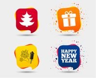 Happy new year sign. Christmas tree and gift box. Happy new year icon. Christmas tree and gift box signs. Fireworks rocket symbol. Speech bubbles or chat Stock Photos