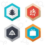 Happy new year sign. Christmas tree and gift box. Hexagon buttons. Happy new year icon. Christmas trees and gift box signs. World globe symbol. Labels with Royalty Free Stock Photo