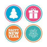 Happy new year sign. Christmas tree and gift box. Happy new year icon. Christmas tree and gift box signs. Fireworks explosive symbol. Colored circle buttons Royalty Free Stock Photo