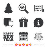 Happy new year sign. Christmas tree and gift box. Happy new year icon. Christmas tree and gift box signs. Fireworks explosive symbol. Newspaper, information and Royalty Free Stock Images