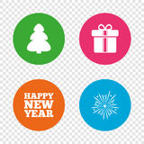Happy new year sign. Christmas tree and gift box. Happy new year icon. Christmas tree and gift box signs. Fireworks explosive symbol. Round buttons on Royalty Free Stock Photography