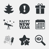 Happy new year sign. Christmas tree and gift box. Happy new year icon. Christmas tree and gift box signs. Fireworks rocket symbol. Attention, investigate and Royalty Free Stock Photo