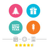 Happy new year sign. Christmas tree and gift box. Happy new year icon. Christmas tree and gift box signs. Fireworks rocket symbol. Calendar, cogwheel and report Stock Photo