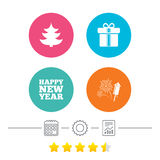 Happy new year sign. Christmas tree and gift box. Happy new year icon. Christmas tree and gift box signs. Fireworks rocket symbol. Calendar, cogwheel and report Stock Photography