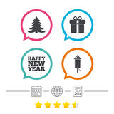 Happy new year sign. Christmas tree and gift box. Happy new year icon. Christmas tree and gift box signs. Fireworks rocket symbol. Calendar, internet globe and Royalty Free Stock Photography