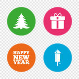 Happy new year sign. Christmas tree and gift box. Happy new year icon. Christmas tree and gift box signs. Fireworks rocket symbol. Round buttons on transparent Royalty Free Stock Photos