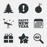 Happy new year sign. Christmas tree and gift box. Stock Photos