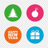 Happy new year sign. Christmas tree and gift box. Royalty Free Stock Photography