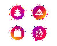 Happy new year sign. Christmas tree and gift box. Vector vector illustration
