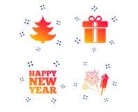 Happy new year sign. Christmas tree and gift box. Vector. Happy new year icon. Christmas tree and gift box signs. Fireworks rocket symbol. Random dynamic shapes royalty free illustration