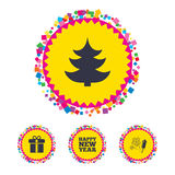 Happy new year sign. Christmas tree and gift box. Web buttons with confetti pieces. Happy new year icon. Christmas tree and gift box signs. Fireworks rocket Stock Photo