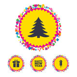 Happy new year sign. Christmas tree and gift box. Web buttons with confetti pieces. Happy new year icon. Christmas tree and gift box signs. Fireworks rocket Royalty Free Stock Images