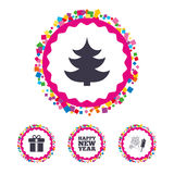 Happy new year sign. Christmas tree and gift box. Web buttons with confetti pieces. Happy new year icon. Christmas tree and gift box signs. Fireworks rocket Stock Image