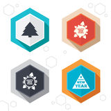 Happy new year sign. Christmas trees. Hexagon buttons. Happy new year icon. Christmas trees signs. World globe symbol. Labels with shadow. Vector Stock Images