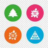 Happy new year sign. Christmas trees. Royalty Free Stock Photo