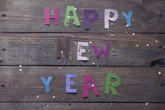 Happy New Year sign of colored letters Stock Photo