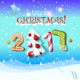 Happy New Year sign 2017 decoration poster card. Merry Christmas background and composition on a snowy field with Christmas trees and stars, garlands,candy royalty free illustration