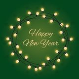 Happy New Year Sign in glowing bulb wreath, decorative colored lamp garland, greeting card, vector illustration. Happy New Year sign in glowing bulb wreath royalty free illustration