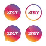 Happy new year 2017 sign icon. Calendar date. Christmas tree. Gradient buttons with flat icon. Speech bubble sign. Vector Royalty Free Stock Image