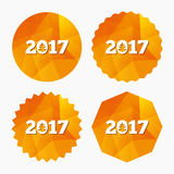 Happy new year 2017 sign icon. Calendar date. Christmas tree. Triangular low poly buttons with flat icon. Vector Royalty Free Stock Images