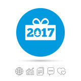 Happy new year 2017 sign icon. Christmas gift. Happy new year 2017 sign icon. Christmas gift anf tree. Copy files, chat speech bubble and chart web icons Stock Image