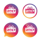 Happy new year 2017 sign icon. Christmas gift. Happy new year 2017 sign icon. Christmas gift anf tree. Gradient buttons with flat icon. Speech bubble sign Royalty Free Stock Images