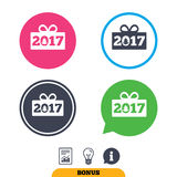 Happy new year 2017 sign icon. Christmas gift. Happy new year 2017 sign icon. Christmas gift anf tree. Report document, information sign and light bulb icons Royalty Free Stock Images