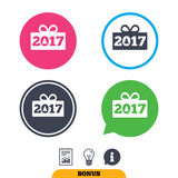 Happy new year 2017 sign icon. Christmas gift. Happy new year 2017 sign icon. Christmas gift anf tree. Report document, information sign and light bulb icons Stock Photos
