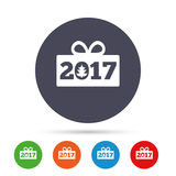 Happy new year 2017 sign icon. Christmas gift. Royalty Free Stock Photo