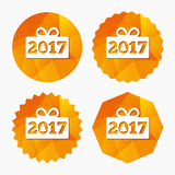 Happy new year 2017 sign icon. Christmas gift. Stock Images