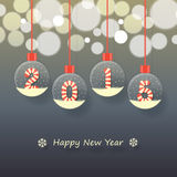 Happy new year 2015. Year 2015 sign in red and white Christmas sweet style in snow globe hanging on glowing blurry dark background royalty free illustration