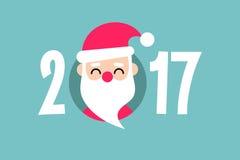 Happy New Year 2017 sign. Santa Claus. Editable flat  illustration, clip art Royalty Free Stock Photo