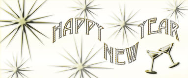 Happy New Year. A Happy New Year sign with stars and a hint of a golden background royalty free illustration
