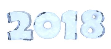 2018 Happy New Year sign text made of blue ice. 2018 New Year sign text written with numbers made of clear blue ice, Happy New Year 2018 winter icy symbol 3d Royalty Free Stock Photos