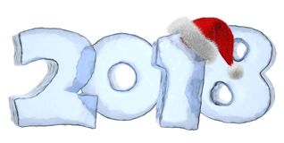 2018 New Year icy text with red hat Stock Image