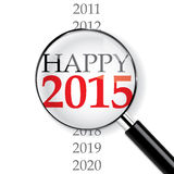 Happy 2015. 2015 New Year sign under magnifier royalty free illustration