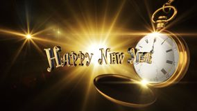 Happy New Year Sign With Vintage Pocket Watch Striking Midnight. With Light And Flares in Background 3D Render Royalty Free Stock Photo