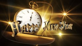 Happy New Year Sign With Vintage Pocket Watch Striking Midnight. With Light And Flares in Background 3D Render Stock Images