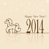 Happy New Year. Silhouette of little horse on beige background, illustration Royalty Free Stock Image