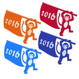 Happy new year 2016 Silhouette of Monkey with flag on white background. Symbol Chinese zodiac year of the monkey. Vector Christmas. Vector illustration of Happy Stock Photo