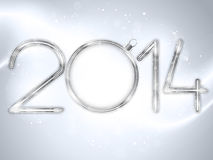 Happy New Year 2014 Silver Background Stock Photo