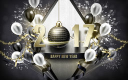 Happy new year 2017. 2017 Happy New Year with silver bauble and balloon background Royalty Free Stock Images
