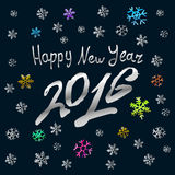 Happy New Year 2016 silver  card, background. Happy New Year 2016 silver art card, background Royalty Free Stock Images