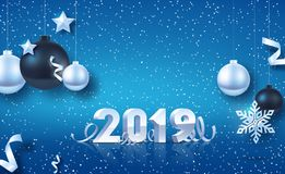 Happy New Year 2019. Silver 3D-numbers with ribbons and confetti on white background. Silver and black Christmas balls with Silver. Stars and big Silver vector illustration