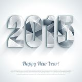 Happy New Year 2015 silver greeting card. Polygonal origami style. Holiday design. Vector illustration. Party poster, greeting card, banner or invitation. Number Stock Image