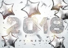 2018 Happy new year. Silver Numbers Design with star shaped balloons of greeting card. Silver Shining Pattern. Happy New Year Banner with 2018 Numbers on vector illustration