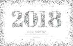 Happy New Year 2018 Silver Numbers Stock Images