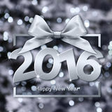 Happy new year 2016 silver text with box and ribbon. In lights glitter background Stock Photos